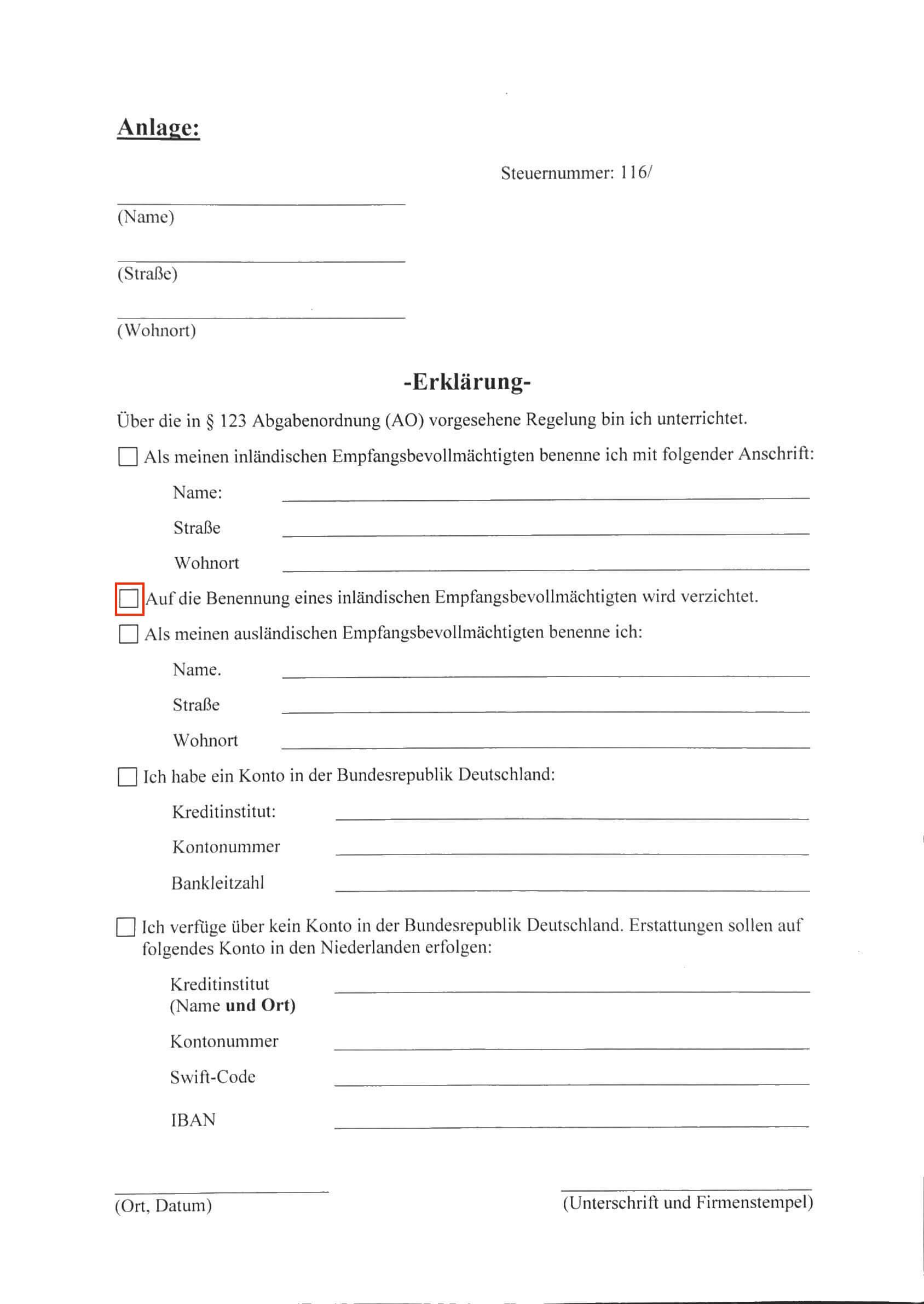 Duitse vertegenwoordiger aanstellen formulier