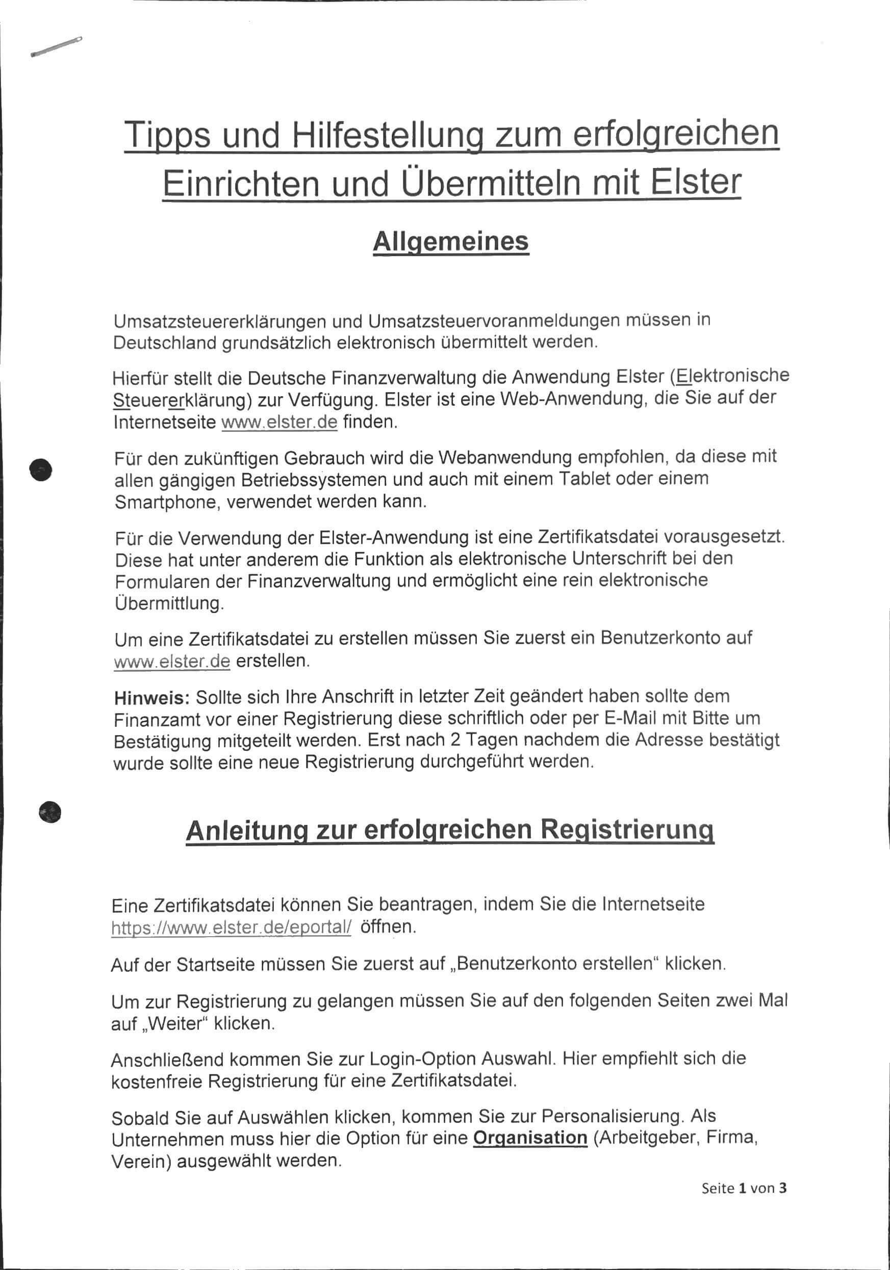Tips voor Elster Duitsland